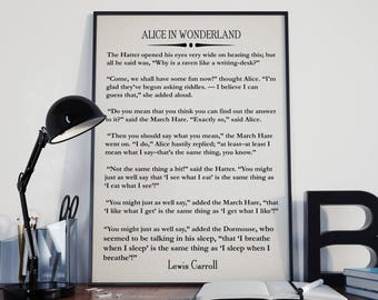 Alice in Wonderland Book Wall Art Lewis Carroll Quote Wonderland Quote Literary Poster Literary Wall Art Large Book Wall Art