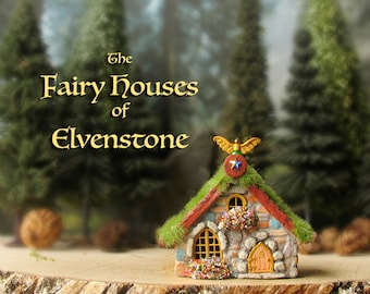 Elvenstone Fairy Cottage - Miniature Polymer Clay House with Mossy Terracotta Roof, Flower Boxes and Arched Door and Enchanted Winged Finial