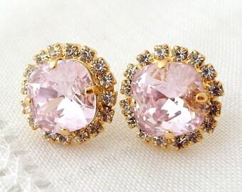 Soft pale Pink Swarovski stud earrings, Bridal earrings, Pink rhinestone stud earrings, Bridesmaid jewelry, Rosaline, Gold or Silver