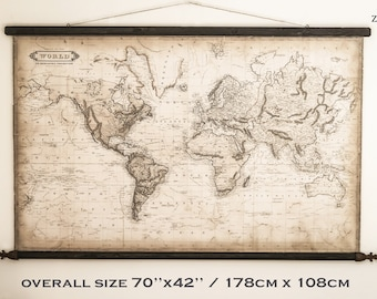 Royal world map 1800, 70''x42'' /178 x 108cm, Finials Fleur de lis, Lilly, Medieval decor,Rusty iron, Holiday home, Vintage wall art print