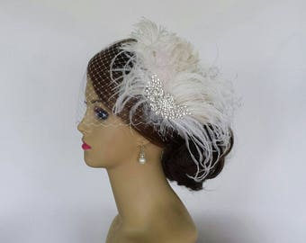 """BRIDAL HEADPIECE With or Without Birdcage Veil, Vintage Bridal Hair Accessory, Feather Bridal Headpiece """"OLIVIA"""""""