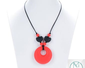 Red Ring Teething Necklace Baby Silicone Teether Autism Sensory Chew Pendant Chewable Jewelry Kid Chewelry FREE UK SHIPPING