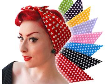 Rockabilly Polka Dot Bandana 8 colours - Roller Derby Bandana - 50s style Retro Head Scarf - Polka Dot Scarf - Rosie the Riveter