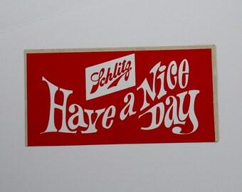 Vintage 60s 70s Schlitz Beer Sticker Decal bar milwaukee drinker red white bar art decor man cave advert unused NOS pabst stroh gift lover
