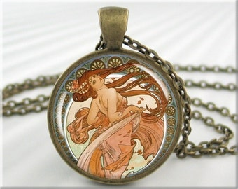 Alphonse Mucha Art Pendant, Resin Charm, Art Nouveau Jewelry, Picture Necklace, Neoclassical Art Gift, Gift Under 20, Round Bronze 185RB