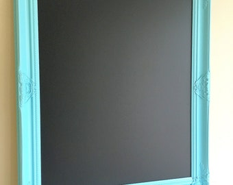 Playroom CHALKBOARD Aqua Homeschool Chalkboard Kids Room Decor MAGNETIC Bright Blue Turquoise Black Dry Erase Board Chalk Ink Markers Ornate