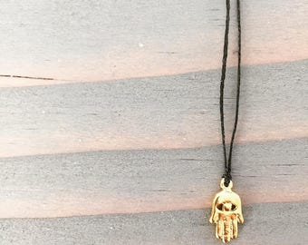 Tiny Vermeil Gold Hamsa Hand Charm on Waxed Linen Cord Necklace / Choker