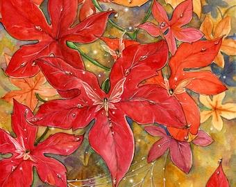 "Giclee print ""AUTUMN DEW""- fairy fantasy seasonal autumn art -8x10 inches on A4"