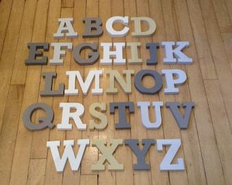 Wooden Alphabet Letters - Hand Painted Wooden Letters Set - 26 letters - 10cm high - RS font