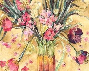 Art Print Original Watercolor Spring Bouquet