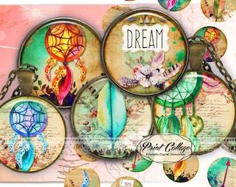 Dreamcatcher Cabochon images, Digital Download, Collage Images, 1.5 inch, 16 mm 12 mm 1 inch Bottle Cap, printable download c235