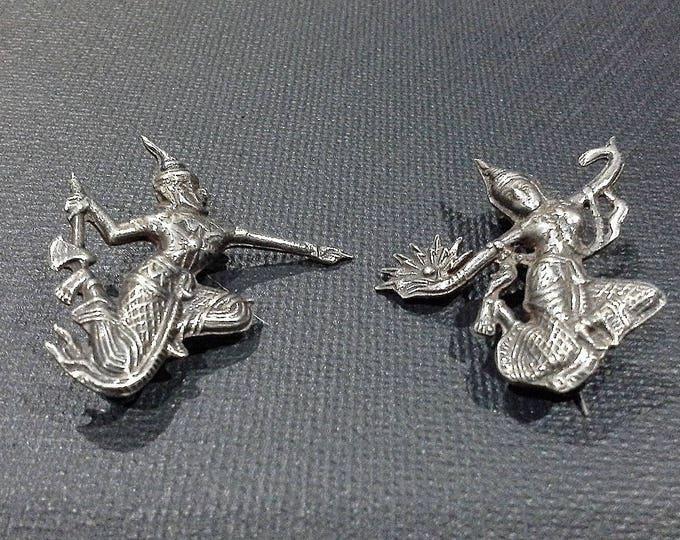 Vintage Siam Sterling Silver Brooch Lapel Pins Mekkala Goddess of Lightening and Ramasoon God of Thunder c 1940's Pair
