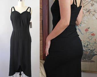 1950s Rayon Wiggle Dress / Vintage 40s 50s Rayon Crepe Dress / XS S