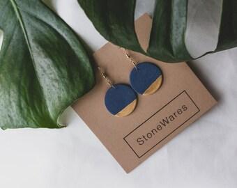 Ceramic Earrings | Round Earrings | Blue Earrings | Blue Gold Earrings