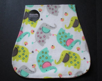 Bright Elephants Print Flannel Burp Cloth