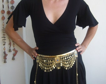 Turcoman belly chain ethnic in gold tone/belly dancer chain dangling