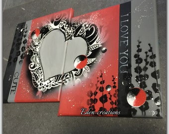 Diptych painting red and black, heart, painting hand painted