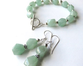Gemstone Jewelry Set, Mint Green Aventurine, Bracelet and Earrings, Matching Jewelry, One of a Kind, Gift for Someone Special, Set of Two