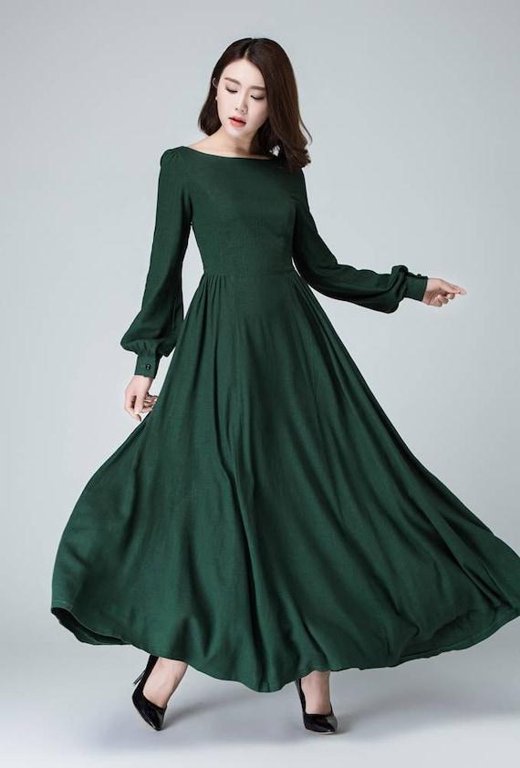 Long sleeve green maxi dress