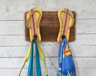 Flip Flop Decor, Key Ring Hooks, Dog Leash Holder, Outdoor Shower Hooks, Pool Towel Rack, Bathroom Towel Hooks, Reclaimed Wood Wall Art