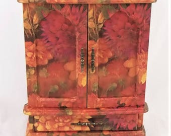 Jewelry Box Chest Storage 2 Doors 5 Drawers Mirror Spinner Hand Painted Floral Decoupage Gold Red Orange Pink Green