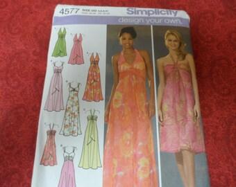 Simplicity 4577 Misses Design Your Own Evening Dress Sizes4,6,8,10 Uncut