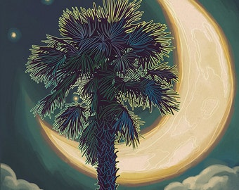 Seabrook Island, South Carolina - Palmetto Moon and Palm (Art Prints available in multiple sizes)