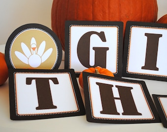 INSTANT DOWNLOAD (Digital) Give Thanks Printable Thanksgiving Banner - Harvest Colors in Brown, Orange, Tan, White