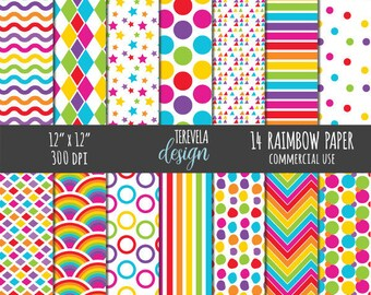 50% sale RAINBOW digital paper, commercial use, paper pack, web design, rainbow paper, scrapbook paper, cute background, bright colors paper