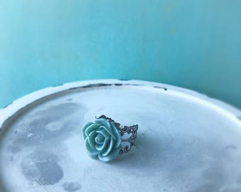 Grey green resin rose ring