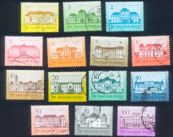 14 Hungary Castle Postage Stamps - Mixed Media, Arts and Crafts, Visual Journals