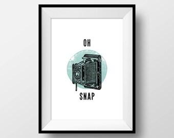 "Vintage Puns, ""Oh Snap"", Photography Joke, Camera, Retro, Photo, Inspirational, Hipster, Minimal, Blue"