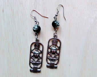 Crackle glass beads and Egyptian scarab earrings