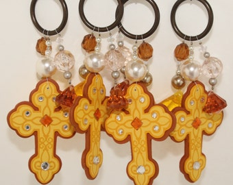 Cross Amber/Yellow/Gold Wooden Tablecloth Weights Set of 4