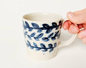 CERAMIC VINE MUG // Pottery Mug, Ceramic Mugs Set, Ceramic mug, Large Blue Pottery mug, Coffee /Tea Porcelain cup, Ceramic Coffee mug,