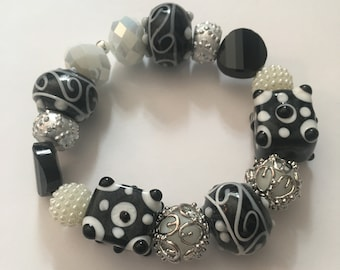 Elastic Black and White Statement Piece Bracelet