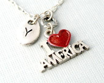 I love America Necklace,Initial Necklace, Initial Hand Stamped, Personalized, Antique Silver, Monogram