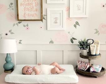 Baby Kinderbett Bettwäsche - Einbau Spickzettel Mint / Mini Krippe Blatt / blau Unterlage Pad / Floral Krippe Blatt / Einbau Baby Blatt / ETSY Baby