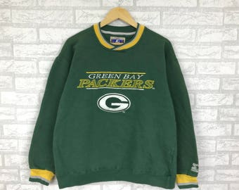 Rare!! Vintage 90's GREEN BAY PACKERS sweatshirt big logo Printed Nfl team hip hop swag starter  Green colour large size (B13)