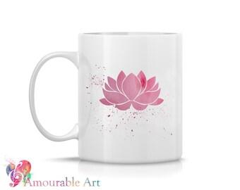 Coffee Mug, Ceramic Mug, Pink Lotus Flower Mug, Unique Coffee Mug Gift, 11oz or 15oz Watercolor Art Print Mug, Two-Sided Print, Coffee Lover