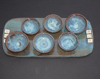 Handmade Blue Stoneware Passover Seder Plate