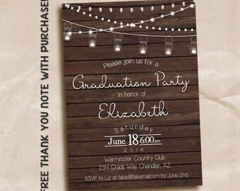 Mason Jar graduation invitation / printable invitation