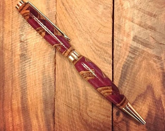 Handmade Herringbone Pen with Zebra and Purple Heart Wood