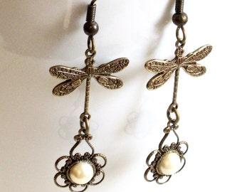 Brass Dragonfly Earrings - Pearl Earrings, Filigree Earrings, Dragonfly Jewelry