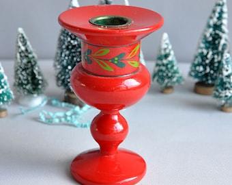 Helen and Mogens Lyholmer - Red Enamel Candlestick Holder - Made in Denmark