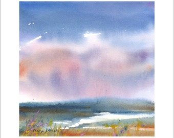Watercolor Marsh Giclee Print, Coastal Art, Marsh Clouds, Impressionist Seascape with Colorful Rain Clouds, Small Seascape Giclee
