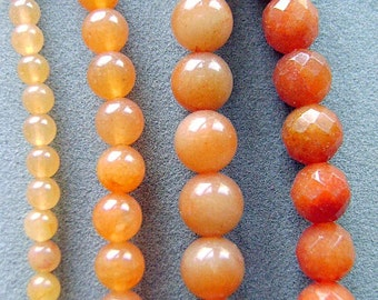 Beads, Gemstone, Aventurine, Peach, Strand, 8mm, 12MM, Round, 8mm Faceted, Natural, I