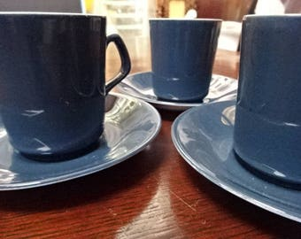 Beswick Cups & Saucers/Set of 6/Blue/Vintage
