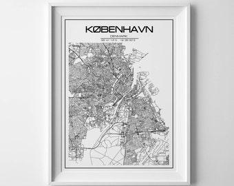 Copenhagen Map Print Copenhagen Poster Map of Copenhagen Decor Copenhagen City Map Art Copenhagen Gift Copenhagen Denmark Art Poster