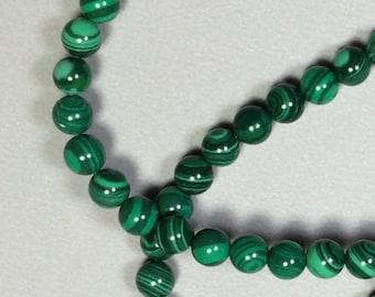 4mm Immitation Malachite Round Bead 16 inch strand